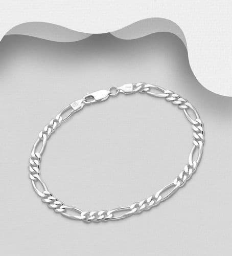 925 Sterling Silver Solid Heavier Weight Figaro Bracelet - Three Different Lengths and Weights