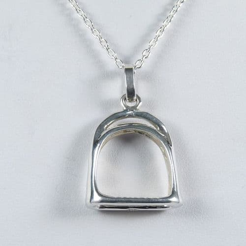 Sterling Silver Solid Hand Crafted  Stirrup Pendant & Chain