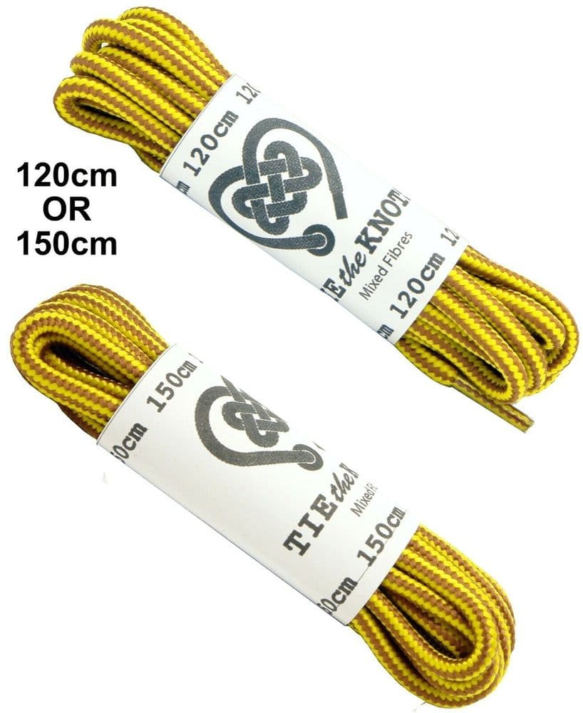 Shoe / Boot laces Pair Round Yellow Gold Brown 6 - 12 Eyelets Doc Martens CAT Timberland 120cm 150cm