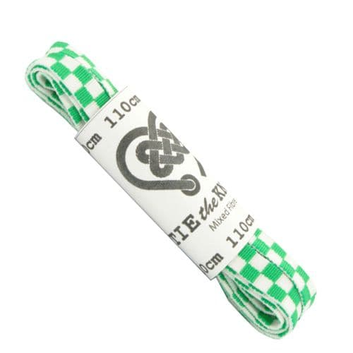 Shoe Laces  Pair Chequered Green and White Flat  4 - 8 Eyelets 110cm Long