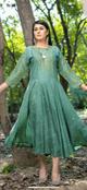 Ashi  Long Green Kurta Frock Embroidery and Silver Detail