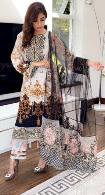 Flossy Dusky Grey and Black Embroidery with Deluxe Net Duppatta SKB01