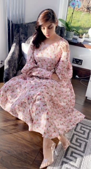 Grace Floral Long Maxi Buttons Sleeves  with Tie Belt
