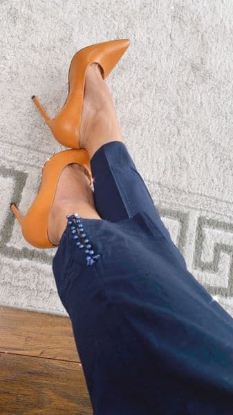 Hina Trousers with button detail Blue or Black