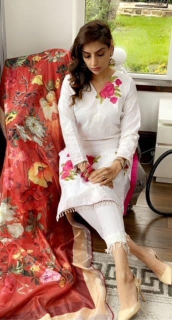 Laiza  Sana Safina  Inspired White Suit with Silk Duppatta