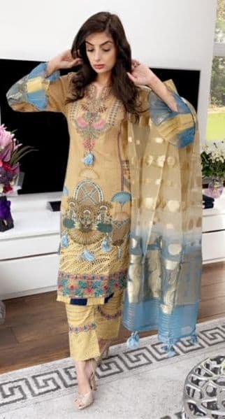 Stunning MinakshiDEEP GOLD -Blue Embroidery, Stone work, tassles, luxe banarasi shawl duppatta